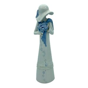 """Louise Auger Figurine 11"""" Tall Lady w/ Blue Bouquet Signed Hand Made in Canada"""