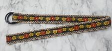 Ex&Co PUNCH USA Black Brown Floral Print Belt Women's Size Medium