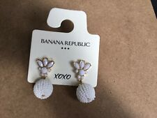 Beaded Dangling Earrings Banana Republic White