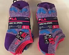 (10 PAIRS) KIDS Socks Fila Girls All Sport,Pink Purple- 10.5 Kids - Size 4 Adult