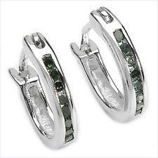Seltene Grüne Diamanten-Ohrringe/Creolen-925 Sterling Silber
