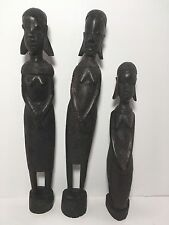 "3 Genuine Hand Carved Besmo Wood African Ghana Statue Figurine 10""-14"""