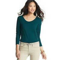 NWT Ann Taylor Loft Teal Night Heather ScoopNeck Cotton Modal L/Slv T Shirt XS-M