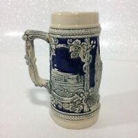 Drachenfels Koln Bonn Bundeshaus Vintage Cobalt Blue and Cream Beer Stein Mug