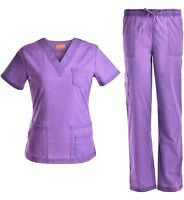 Medical Scrubs Denim Washed Stretch Set V-Neck Top w/ Pants Purple XS S M L XL