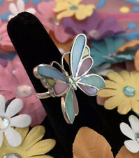 Butterfly Rainbow Enamel Ring Pastel Sterling Silver SZ 5.75 Statement