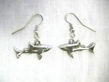 Cast Usa Pewter Dangling Charm Earrings Ocean Great White Shark Full Body Sharks