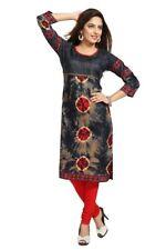 UK STOCK - Women Bollywood Indian Long Kurti Tunic Kurta Top Shirt SC1104
