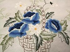 """White Cotton Embroidered Blue Flower Basket Embroidery Tablecloth 90x90"""" Round"""