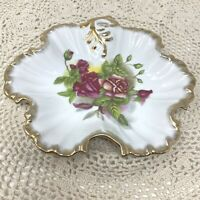 Vintage Hand Painted Japan Rose Trinket Dish Bowl Flower Shape Gold Accents