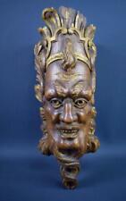 Large Hand Carved Oak Wood Pediment Architectural Ornament Faun Mascaron Face