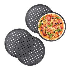 4 x Pizzablech antihaft, Knusperblech gelocht, Aufback Rundblech, Pizza Tray