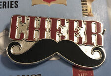 Varsity Cheer Cheerleading Cheerleader Pin Lapel Cheer W/ Mustache 1.5� x .75�