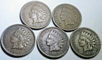 Lot of 5 VF-XF 1907 US Indian Head Penny Cent Antique Old Currency Money Coins