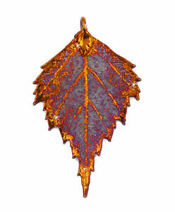 Zhannel Real Leaf PENDANT BIRCH Dipped in Iridescent Copper Genuine Leaf New