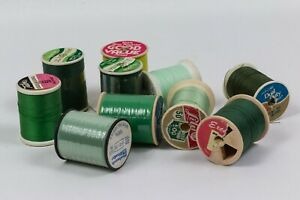 Lot of 10 LARGE Spools of Greens Sewing Thread VINTAGE Different Greens