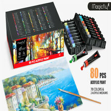 Magicfly 80Pcs Artist Acrylic Paint Set 78 Colors & 2 Acrylic Mediums Paints US