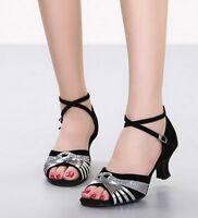 Womens Open Toe Latin Dance Shoes Ballroom Tango Dancing Heeled Sandals Splice