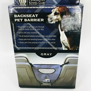 AKC Backseat Pet Barrier Grey Adjustable Strap Cars, Trucks Pet Safety