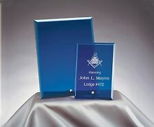 NEW MASON MASONIC AWARD BLUE GLASS PLAQUE BEAUTIFUL 5X7 SIZE INCLUDES ENGRAVING