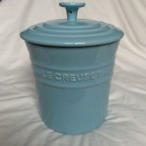 Le Creuset Lidded Storage Jar 2.1 Litre Duck Egg Blue Stoneware Airtight Lid