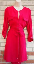 DOROTHY PERKINS RASPBERRY RED BELTED HALF BUTTONED T SHIRT SHIFT DRESS 16 XL