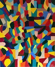 "Nuevo Excelente periferia vilke Original ""raza"" Hermosa Pintura Abstracta Arte Moderno"