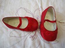Monsoon Bebé Niña Fiesta Ocasión Boda Rojo Zapatos UK2 EUR 18 Nuevo con etiquetas