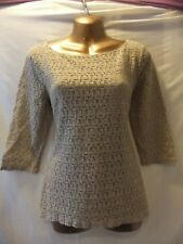 LADIES NWT Banana Republic 10 ECRU STRETCH/GRAPHICS/SLEEVED/LINED/CASUAL TOP