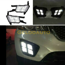 For 16-18 Kia Sorento Front Lower Bumper 4 Eyes Fog Lights Black With LED DRL