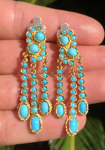 Antique 18k Yellow Gold Robins Egg Persian Turquoise Chandelier Dangle Earrings