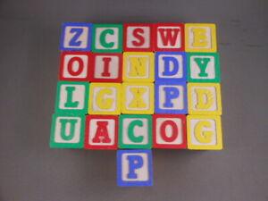LOT 21 Vtg Playskool Wood Color Alphabet Letters & Objects Building Blocks