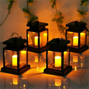 LED Solar Powered Hanging Lantern Lights Waterproof Outdoor Garden Table Lamp UK