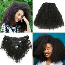 Black 8pcs/set Afro Kinky Curly Clip in 100% Human Hair Weft Extensions 120g