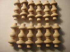 """NEW Solid Wood Birch gallery Spindles- 1 1/2"""" x 3/4"""" - Made in USA - Pack of 12"""