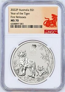 2022 Australia .9999 Bullion Silver Lunar Year of the Tiger NGC MS70 1oz $1 Coin