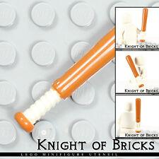 Lego Minifigure DARK ORANGE Utensil Baseball Bat 4L with White Grip Handle