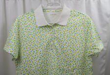 Women's Lands End Supima Polo Shirt Large Lemons