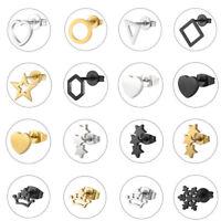 Gold Silver Black Stainless Steel Rhinestone Ear Stud Drop Clip Earrings Jewelry