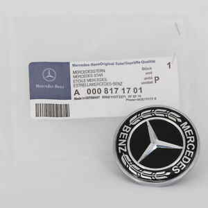 OEM For Mercedes Benz Star Flat Hood Bonnet Logo Emblem Badge High Gloss Black