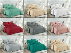 Luxury Quilted Comforter Bedspread Pom Pom Bedding set with Pillowcase all size