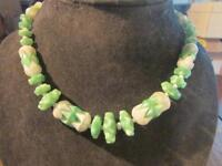 Fab Art Deco Quality Czech Moulded Glass Bead Necklace, Signed