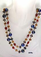 """Vintage Antique Poured Glass Multi Color Glass Necklace Opera Length 44"""" Gripoix"""