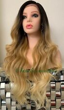 ash blonde Golden Blonde lace front wig Ombré Wavy Heat Resistance 26 Inch Long