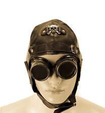 Metal Skull Vinyl Aviator Pilot Steampunk Cap Vintage WWII Hat Punk Goth