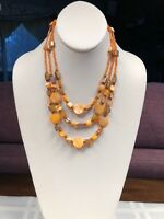 Orange And Brown Triple Strand Peach Mother Of Pearl Vintage Necklace