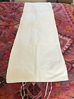 Vintage  White Cotton Bolster Cover  47 X 144cm with ties