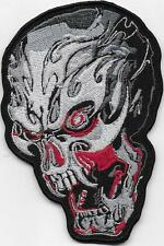 Large Flaming Skull Biker  Embroidered Iron Sew On Patch Badge - HIGH QUALITY