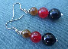 Ohrringe, schwarz-rot-gold, Achat, rote Jade, Onyx, 8-12mm