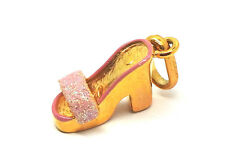 9ct Yellow Gold and Pink Glitter  High Heel Mule Style Shoe Charm / Pendant